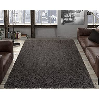 Ottomanson Soft Cozy Solid Color Shag Rug Contemporary Living and Bedroom Kids Soft Shaggy Area Rug(5'0  X 7'0 , Grey)