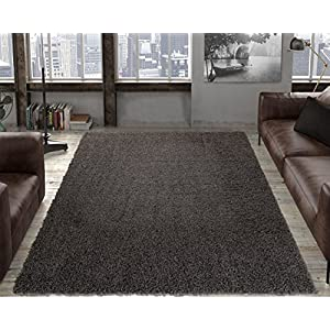 "Ottomanson Collection Solid Shag Rug, 7'10"" x 9'10"", Charcoal"