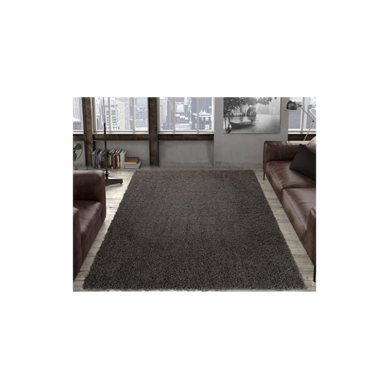 """crib bedding and baby bedding ottomanson collection solid shag rug, 7'10"""" x 9'10"""", charcoal"""