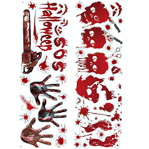 Bageek Bloody Decorativo Extraíble DIY Halloween Window Clings Scary 4 Hojas Decorativo Scary Extraíble Bloody Holiday Wall Stickers