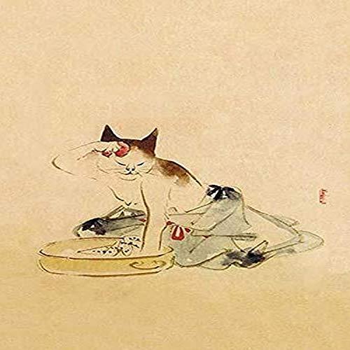 Impresión japonesa de un gato bañándose por Utagawa Kuniyoshi Utagawa Kuniyoshi (1 de enero de 1797 14 de abril de 1861) fue uno de los últimos grandes maestros del estilo japonés ukiyo-e de impresiones de madera y pintura