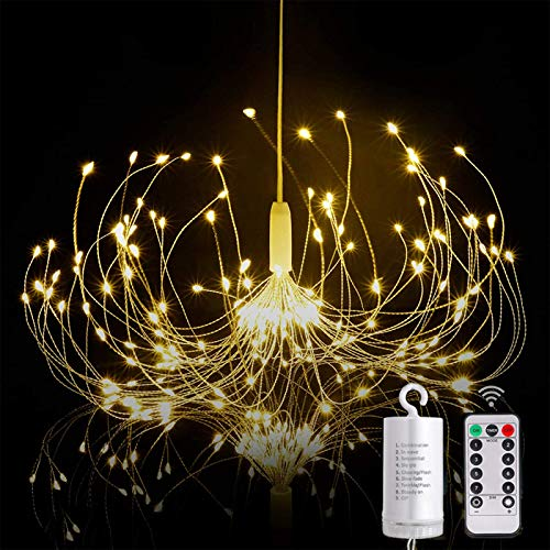 Firework String Lights, 200 Led Hanging Starburst Lights, 8 Modes Dimmable Remote Control, Battery Powered, for Christmas Indoor Outdoor Patio