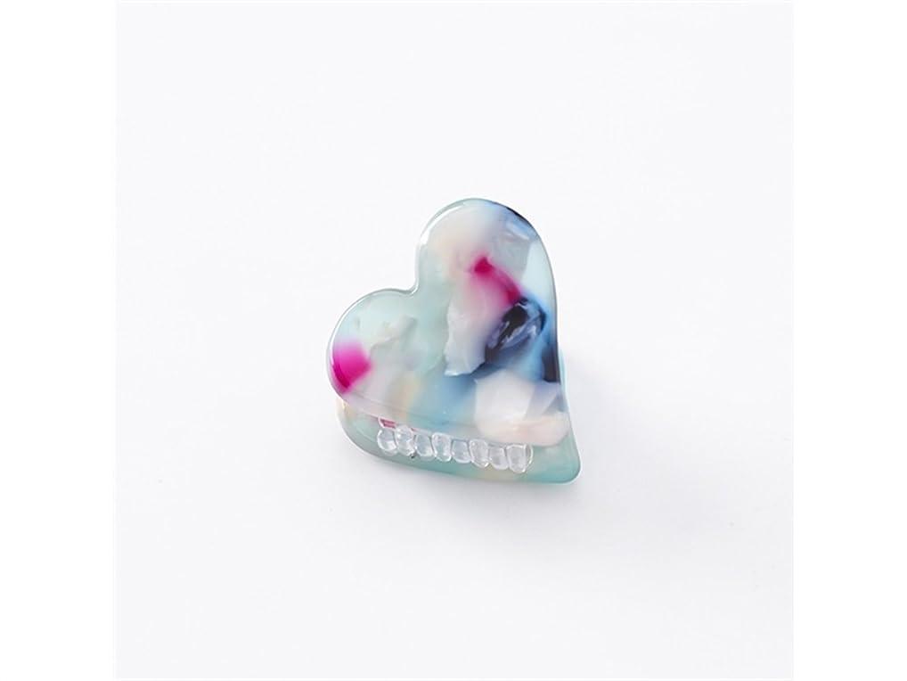 否認する推定するタッチOsize 美しいスタイル ラブハート型の紋章印刷ミニ爪クリップミニ顎クリップ(パープル+ブルー)