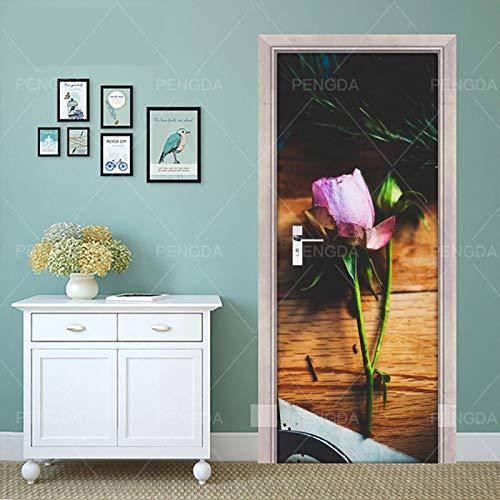 WZKED 3D Pegatinas De Puerta Planta Flor Rosa 77X200Cm Vinilo Impermeable Extraíble Murales De Papel Decorativos para El Hogar Baño Sala De Estar Niños Dormitorio Decoración