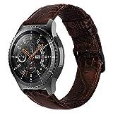 iBazal 22mm Correas Cuero Piel Pulseras Banda Compatible con Samsung Galaxy Watch 3 45mm/Galaxy Watch 46mm,Gear S3 Frontier Classic,Huawei GT/2 Classic,Ticwatch Pro (Reloj No Incluido) - Marrón Oscuro