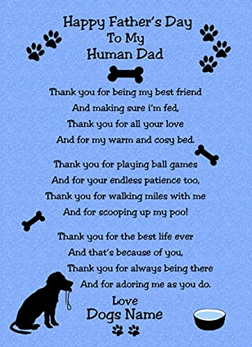 Personalised from The Dog Verse Poem Fathers Day Card (Blue, Human Dad)