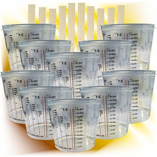 haitecs 10 x Lackmischbecher 750 ml + 10 Rührhölzer im Set