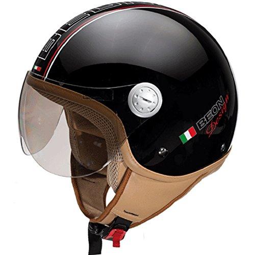 Beon Design Luxe Helm - Motorradhelm - Jethelm - Glänzend schwarz - M