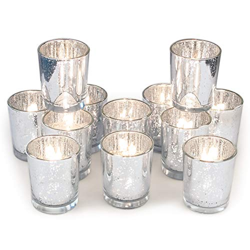 Volens Silver Votive Candle Holders, Mercury Glass Tealight Candle Holder Set of 12