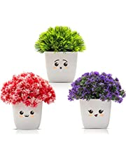 Amputive Artificial Faux Plant Cute Bushy Shrub Topiary Shrub with Lovely Face Pots for Home/Office Decoration-Set of 3-AA36