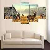HIMFL 5 Paneles Lona Venados de Cola Blanca de Animales en Madera de Granja Casa Tractor Lona Imagen Pintura Decoración Impresión Póster Mural,A,30×50×2+30×70×2+30×80×1