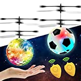 2 Pack Flying Ball Toys,RC Toy for Kid Boy Girl Christmas Birthday Gift Rechargeable LED Lighting Ball Drone Infrared Induction Helicopter, Hand Operated Remote Controller for Indoor Outdoor Game