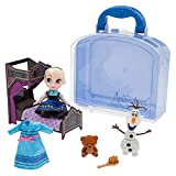 Genuine, Original, Authentic Disney Store Set includes Disney Animators' Collection Elsa mini doll with glittering dress with straps and undershirt Long sleeve dress with pink bow and rooted hair Poseable small Elsa doll comes with Olaf and Bear figu...