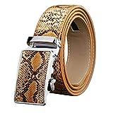 Guajave Cinturón automático con hebilla de trinquete para hombre, piel de serpiente en relieve, ajuste exacto, regalo