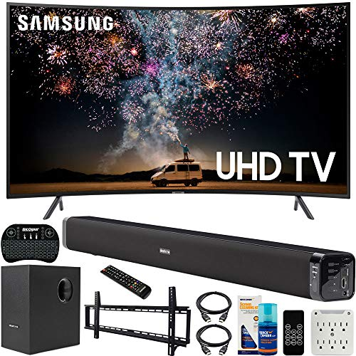 Samsung 65-inch RU7300 HDR 4K UHD Smart Curved LED TV (2019) Bundle...