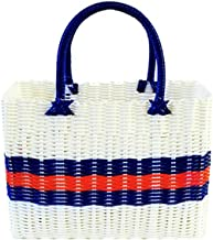 Chinashow Colorful Woven Shopping Basket - Hand-Knitted Simple Tote Bag,Shower Basket,Beach Bag, Vegetables Shopping Bag for Fashion Purse Women, 100% Recycled Material