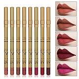 ZJHHH 8 Mate Color Lip Liner Set, Durable delineador de Labios Maquillaje Resistente al Agua para Las Mujeres para los círculos Oscuros imperfecciones del Ojo Que salpican