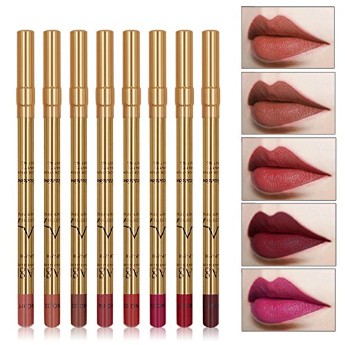 8 Farben Wasserdicht Lippenstift Matt Set Langanhaltend make up Lipliner-Set