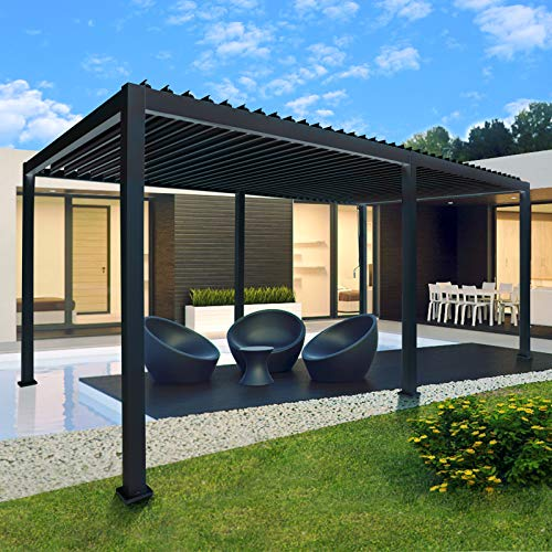 Sunnyglade Patio Pergola Canopy Modern Aluminum Pergola with Adjustable Louvered Gazebo for BBQ, Backyard,Party, Lawn,Garden (10ft X20ft)