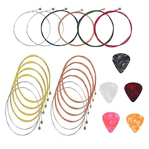 Akustik Gitarrensaiten Set, 12 Premium Akustikgitarren Saiten in Gold und Bunt, mit 6 Plektrum Geschenk Plektren, Saiten in Gold und Bunt, für Gitarren-E-Gitarren-Ukulelenbass