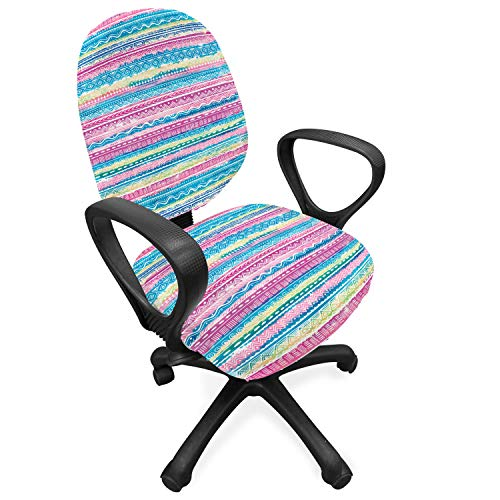 Ambesonne Tribal Office Chair Slipcover, Watercolor Tie Dye Effect Artwork Stripes Aquatic Theme Bohemian Aztec Print, Protective Stretch Decorative Fabric Cover, Standard Size, Cream Pink