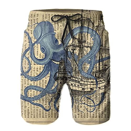 SARA NELL Herren Badehose Ocean Octopus Nautical Boat Piratenflagge Surfen Strand Board Shorts Bademode - Weiß - X-Large