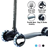Kick Scooter for Kids 3 Wheels Scooters for Toddlers Girls Boys with Adjustable Height, Light Up Flashing Wheels, Lean-to-Steer, Sturdy Deck, Extra Wide, Quick-Release, for Ages 2 - 5 Years Old, Black