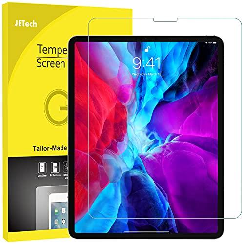 JETech Protector Pantalla Compatible iPad Pro 12,9 Pulgadas 2021/2020/2018 Modelo, Borde a Borde Pantalla Liquid Retina, Cristal Vidrio Templado