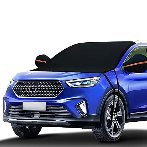 Unzano 2022 Upgraded Car Windshield Snow Cover, Window Covers Fits Any Car, Car Windshield Shade for...