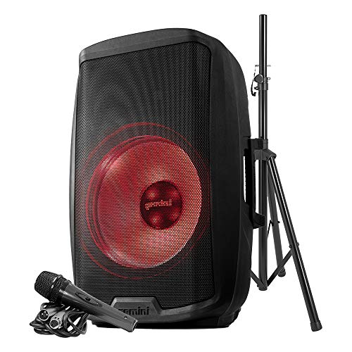 """Gemini Sound AS-2115BT-LT-PK LED Party Light Show Bluetooth 15"""" Inch Woofer 2000W Watts Active PA System DJ Bluetooth Speakers with Speaker Stand, Microphone/USB SD Card, XLR Inputs w/Handles, TWS"""