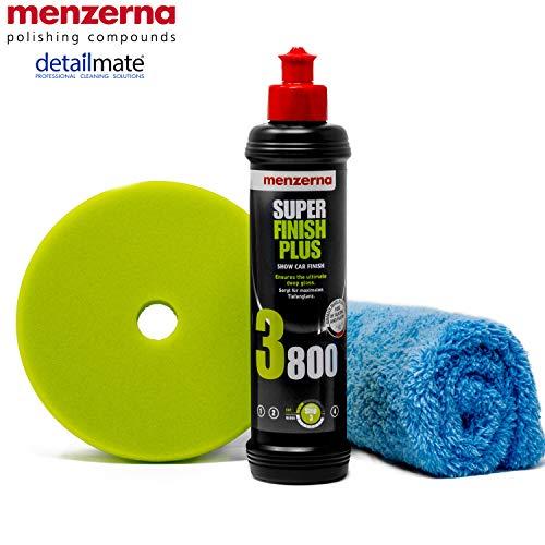 detailmate Menzerna Autopolitur Set: 3800er Körnung, 250 ml mit passendem Polier Pad: Soft Cut Foam Pad Premium 150 mm + Flauschiges Mikrofaser Poliertuch 40x40 cm, 450 GSM