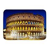 ADONINELP Felpudo Alfombras de baño,El Coliseo de Noche Roma Italia,Alfombra de Entrada Antideslizante Alfombras de Puerta de Bienvenida