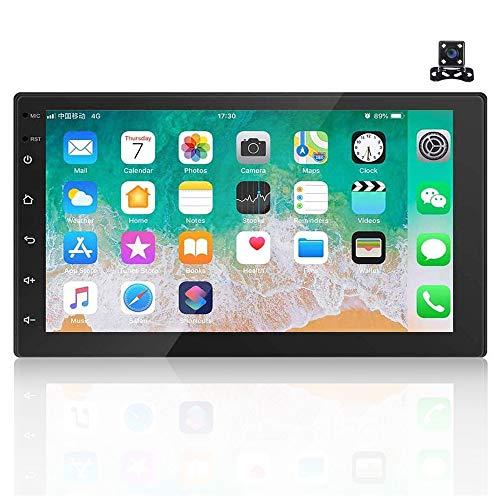 Android 9.1 7 \'\' HD 2 Din Autoradio Radio Bluetooth FM mit USB/AUX-Eingang/Cinch Eingang, Unterstützung DVR/GPS Navigation/Spiegelverbindung/Lenkrad Fernbedienung & Rückfahrkamera