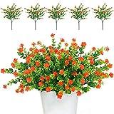 TSHAOUN 5 piezas Flores Artificiales Flor Falsas,Arbustos Verdes Resistentes a Los Rayos UV Plantas para Colgar en Interiores y Exteriores,Casa Jardín Ventana Fiesta Boda Decoración(Rojo naranja)