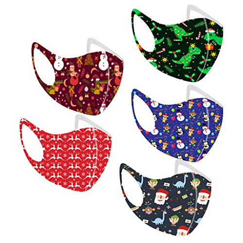 XMAS 5pc Children Christmas Mouth Mask for Protection Face Mask Washable Earloop Masks