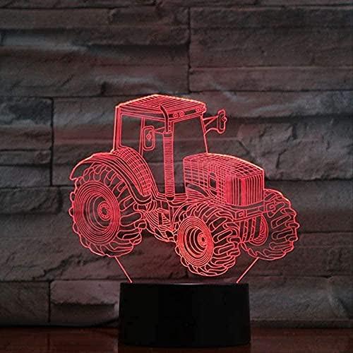 Luz de noche LED 3D Tractor agrícola 7 colores LED de trabajo de oficina o dormitorios en casa Luz de noche de humor-16 color remote control