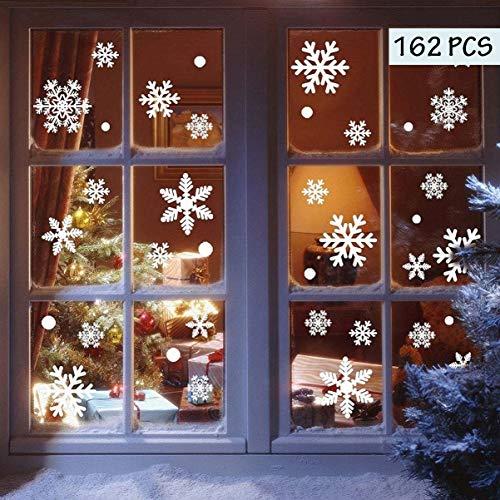 heekpek  162 Pezzi di Adesivo di Fiocco di Neve di Natale in PVC Decorazione Natalizia Invernale