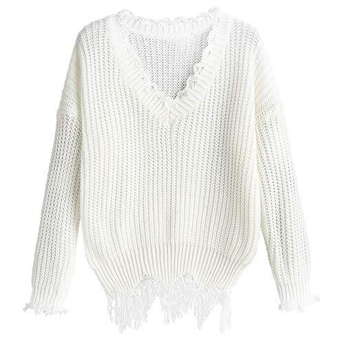 ZAFUL, maglia da donna con scollo a V, traspirante, a maniche lunghe bianco Taglia unica