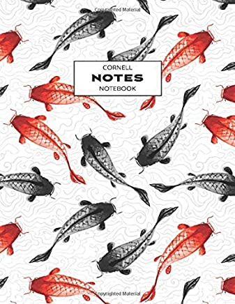 Cornell Notes Notebook: Note Taking with College Ruled Lines, Index and Numbered Pages, Koi