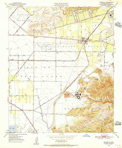 YellowMaps Camarillo CA topo map, 1:24000 Scale, 7.5 X 7.5 Minute, Historical, 1950, Updated 1956, 26.8 x 22 in - Polypropylene