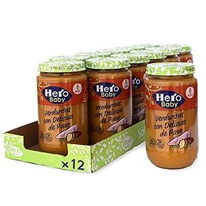 Hero Baby - Tarrito de Verduritas con Delicias de Pavo, Ingredientes Naturales, para Bebés a Partir de los 6 Meses - Pack de 12 x 235 g