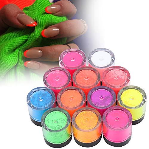 Fluoreszierendes Pulver, 12 Farben Nagel Phosphor Pulver Neon Pigment Pulver, Schwarzlicht UV Reaktiv, Halloween Nail Art DIY fluoreszierendes Pulver Maniküre Werkzeug(12 Stück)