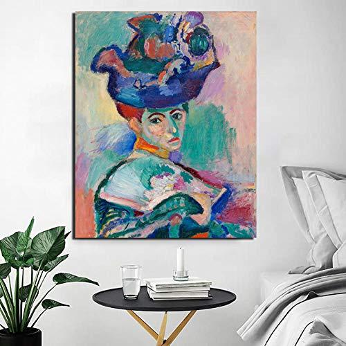 Chihie Henri Matisse Frau mit einem Hut Leinwand Malerei drucken Wohnzimmer Home Decoration Moderne Wandkunst Ölgemälde 60x80cm No Frame