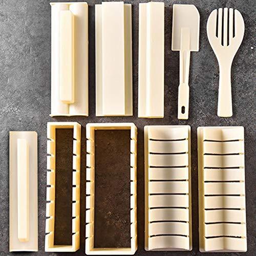 seasonsun Juego de 10 piezas para hacer sushi de color dorado, 5 formas, con tenedor de arroz y espátula de cocina, fácil y divertido para principiantes Easy Sushi Maker
