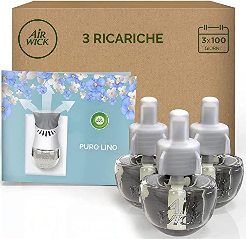 Airwick 3 Ricariche per Diffusore Elettrico di Oli Essenziali, Fragranza Puro Lino