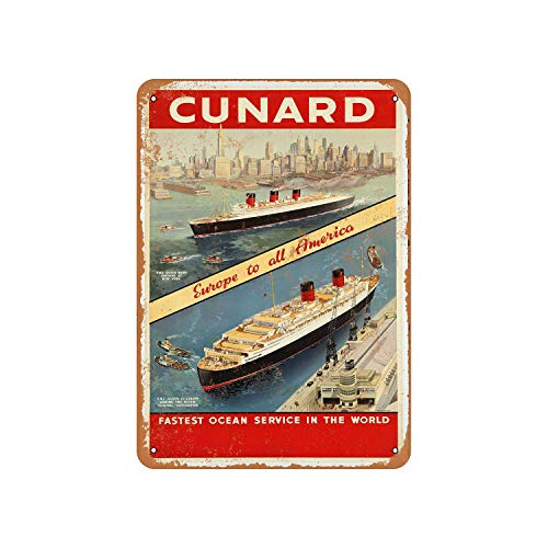 Cunard Queen Mary and Elizabeth Vintage Aluminum Metal Signs Tin Plaques Wall Poster for Garage Man Cave Cafee Bar Pub Club Shop Outdoor Home Decoration 12'x8'