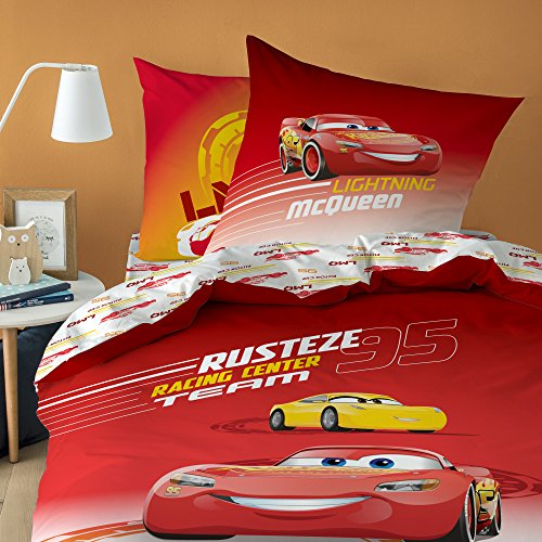 Disney - Cars Rusteze Parure 100% Coton, Rouge, 140 x 200/63 x 63 cm - Taille Française