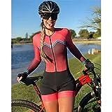 Triathlon Costume à vélo Femme Une seule pièce Combinaison à manches longues Collants de maillot de bain en cours de maillot de bain (Color : 3, Size : Small)