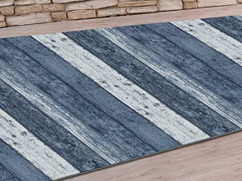 HuleHule Alfombra de Pasillo o Cocina, de algodón y poliéster, Pasillero Wood Azul (300_x_65_cm)
