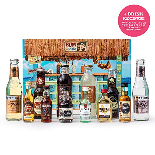 Rum Gift Set | 6 x 5 cl Including The Kraken, Captain Morgan, Mount Gay, Havana Club | Spiced Rum, Dark Rum, White Rum and Supporting Mixers by The Rum Shack | Ultimate Rum Gift Pack